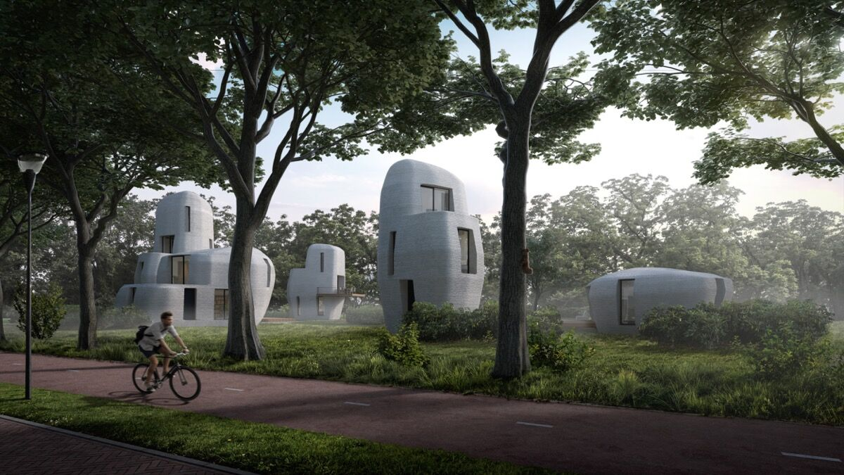 The 3D printed concrete housing project in Eindhoven. Courtesy of Houben and Van Mierlo architecten.
