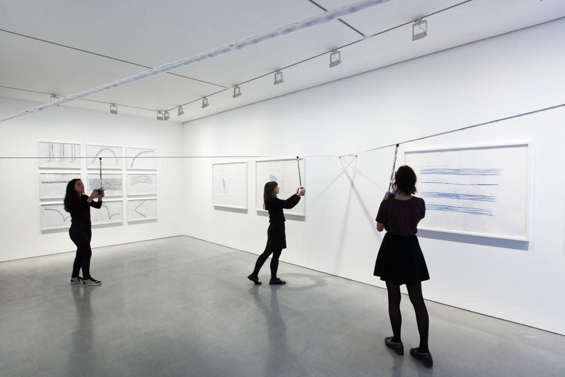 "Installation view of ""Christine Sun Kim: Rustle Tustle"" at Carroll / Fletcher, 2015–2016. Photo courtesy of Carroll / Fletcher."
