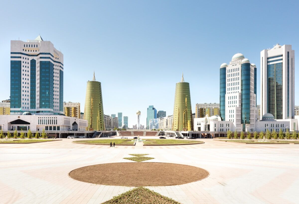 Overview of the city center, government buildings, and the Baiterek Tower, Astana, Kazakhstan. Photo © Gunnar Knechtel. Courtesy of the artist.