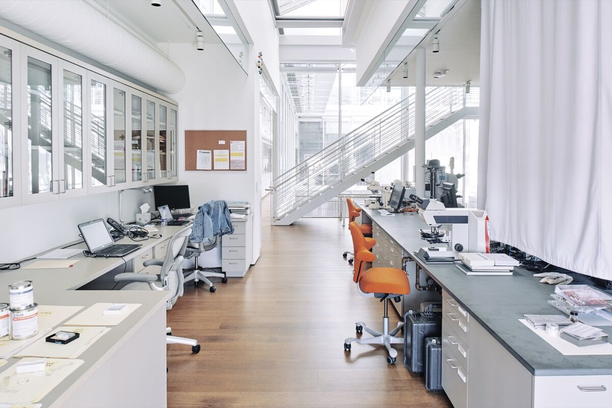 View of the fourth-floor conservation laboratory at the Straus Center. Photo by Tony Luong for Artsy.