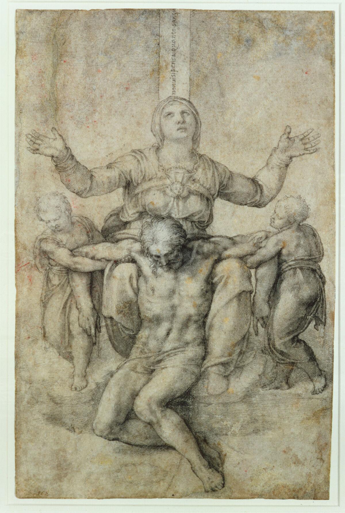 Michelangelo, Pietà per Vittoria Colonna, 1546. Image via Wikimedia Commons.