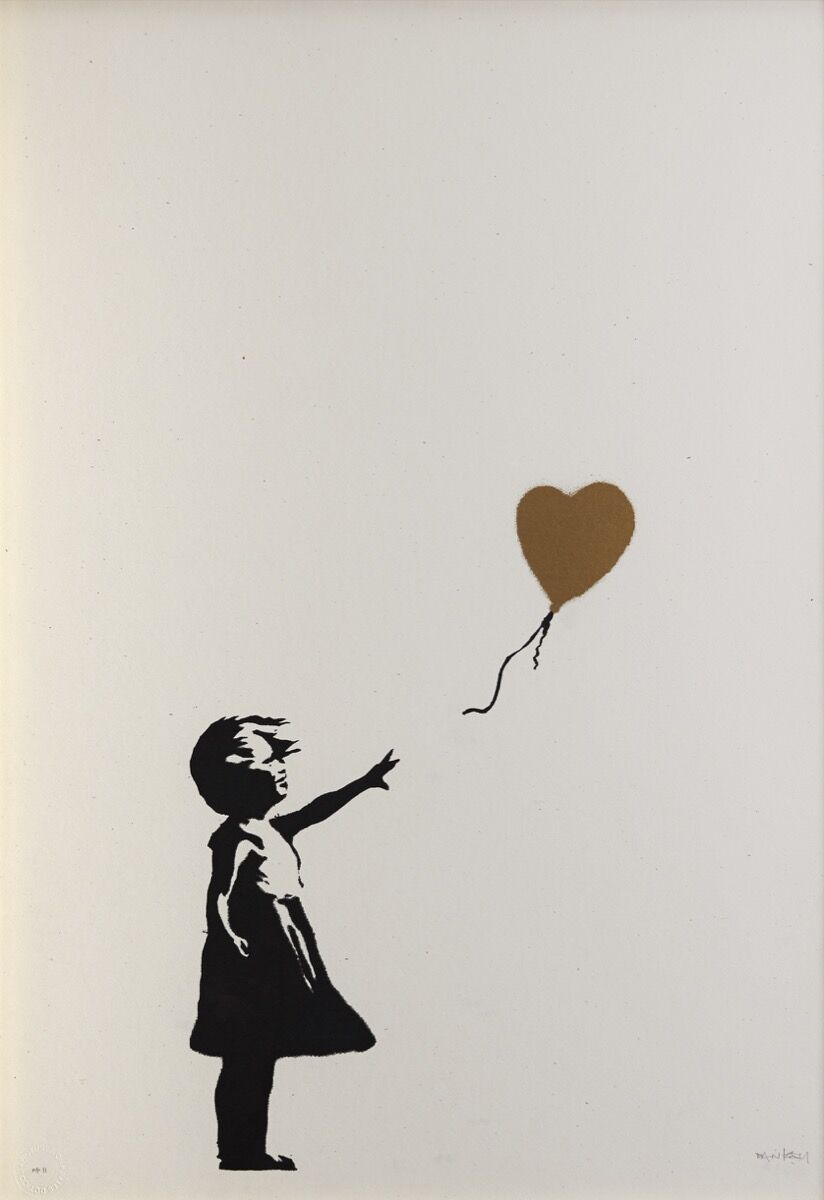 Banksy, Girl with Balloon, AP Gold, 2004. Courtesy of Phillips.