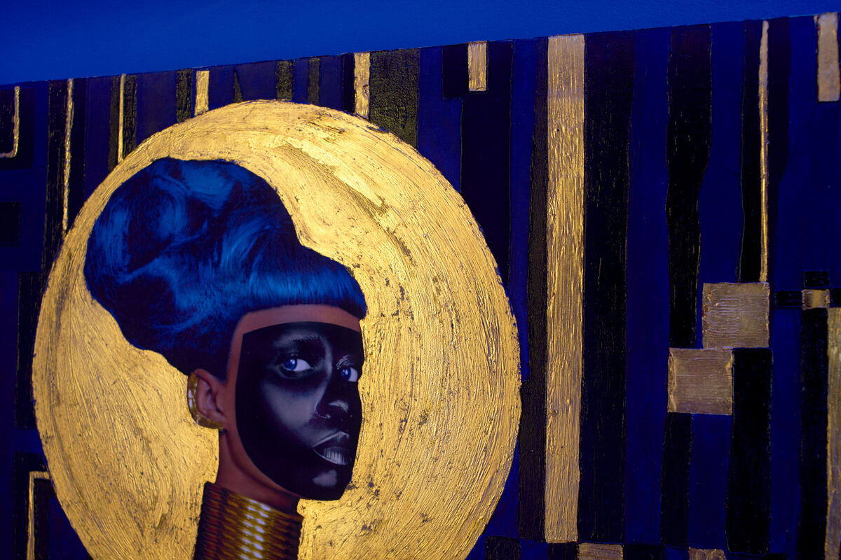 Detail of Lina Iris Viktor's 2015 work Syzygy, made with 24 karat Venetian gold and other materials. Photo by Alex John Beck for Artsy.