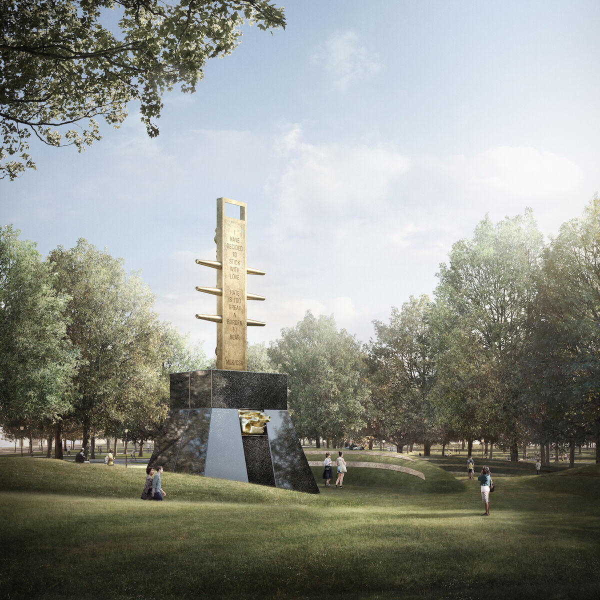 A rendering of Barbara Chase-Riboud's proposed memorial. Courtesy MLK Boston.