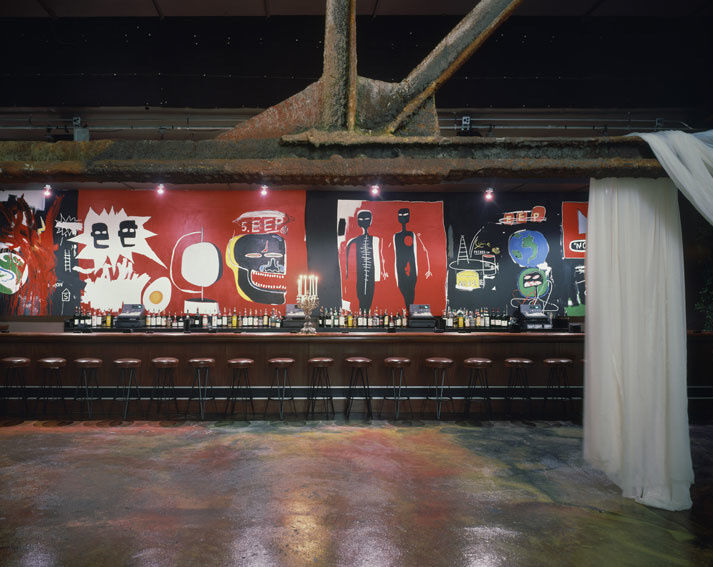Mural by Jean-Michel Basquiat in the Palladium. Photo © Tim Hursley, courtesy of Garvey Simon Gallery.