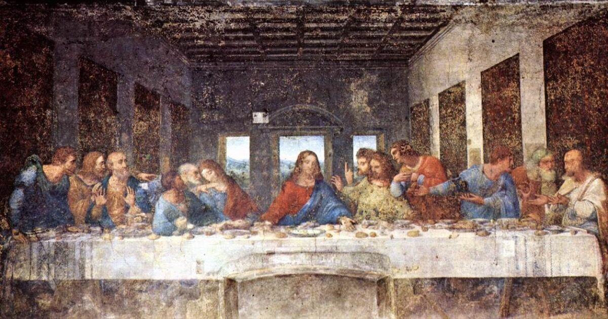 Leonardo da Vinci, The Last Supper, 1498. Photo via Wikimedia Commons.