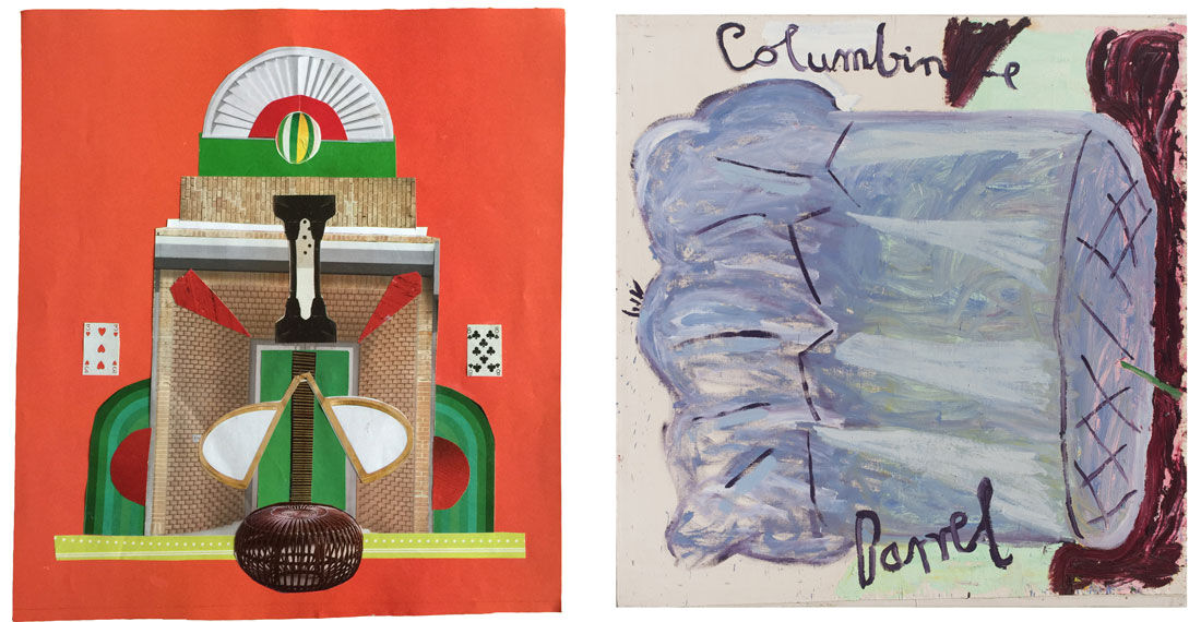 Left: Elisabeth Wild, Untitled, 2015. Image courtesy of Proyectos Ultravioleta; Right: Rose Wylie, Columbine, 2004. Image courtesy of Thomas Erben Gallery.