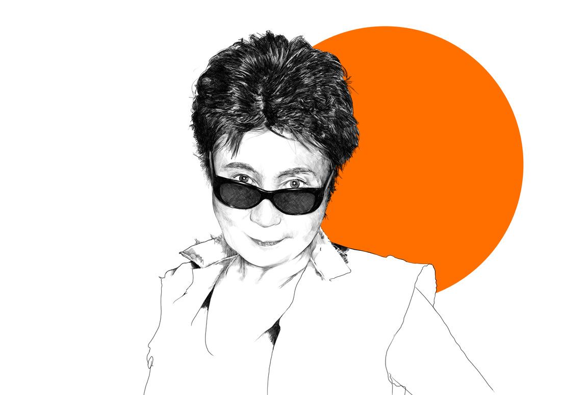 Illustration of Yoko Ono by Rebecca Strickson for Artsy, based on a photograph by Michael Lavine. Original photograph © Yoko Ono.