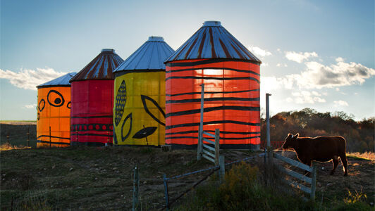 With an understanding that farmers and artists have creation in common, Reedsburg, Wisconsin's Wormfarm formed a vision for farm-based ephemeral art installations and roadside Culture Stands. Photo via arts.gov.