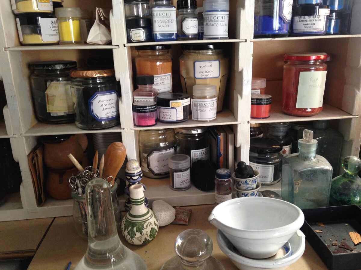 Pigments in Jane Jelley's studio. Courtesy of Jane Jelley.