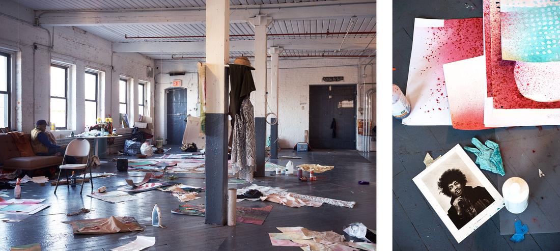 Detail views of Eric N. Mack's New York studio by Alex John Beck for Artsy.