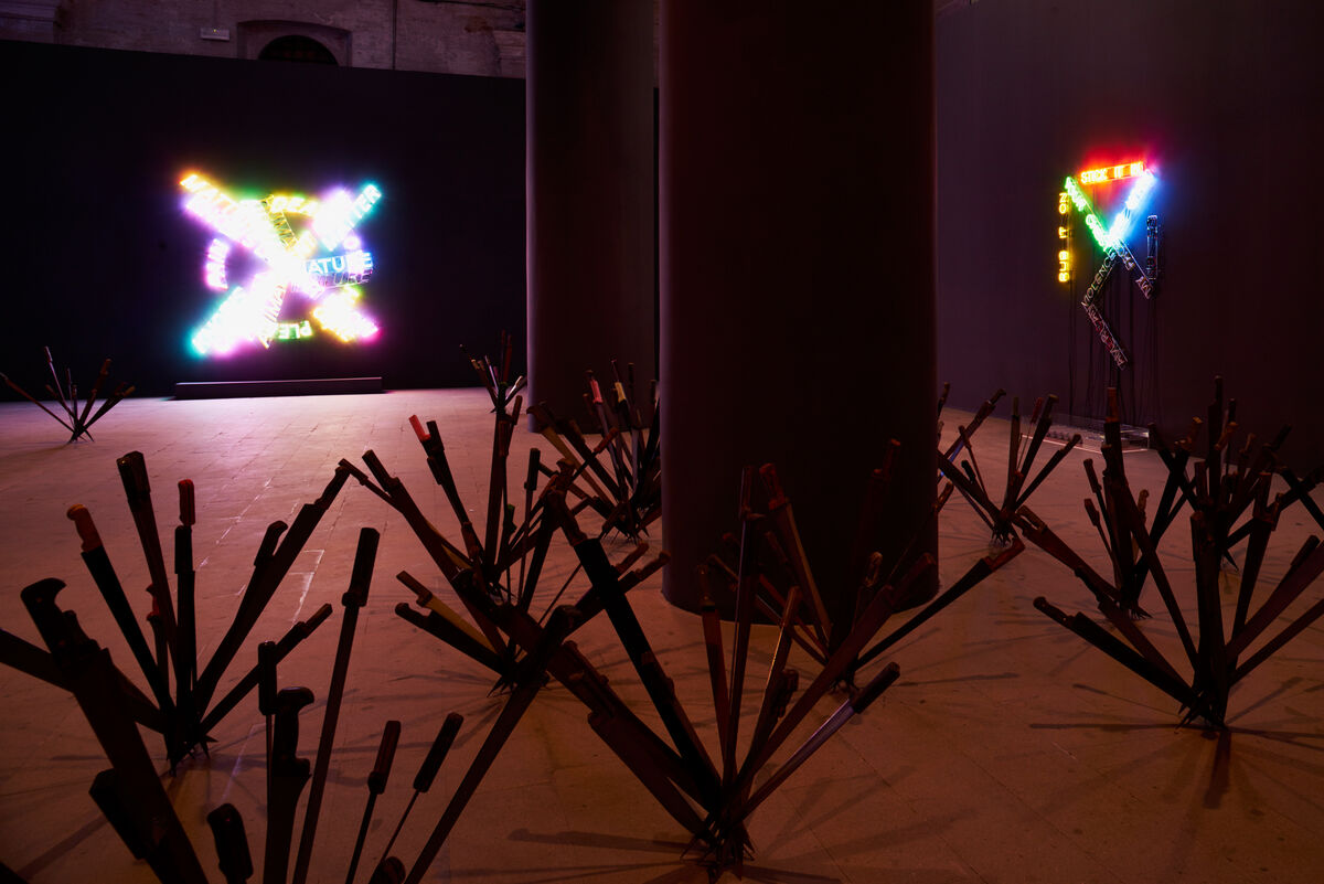 Work by Bruce Nauman. Photo by Alex John Beck for Artsy.