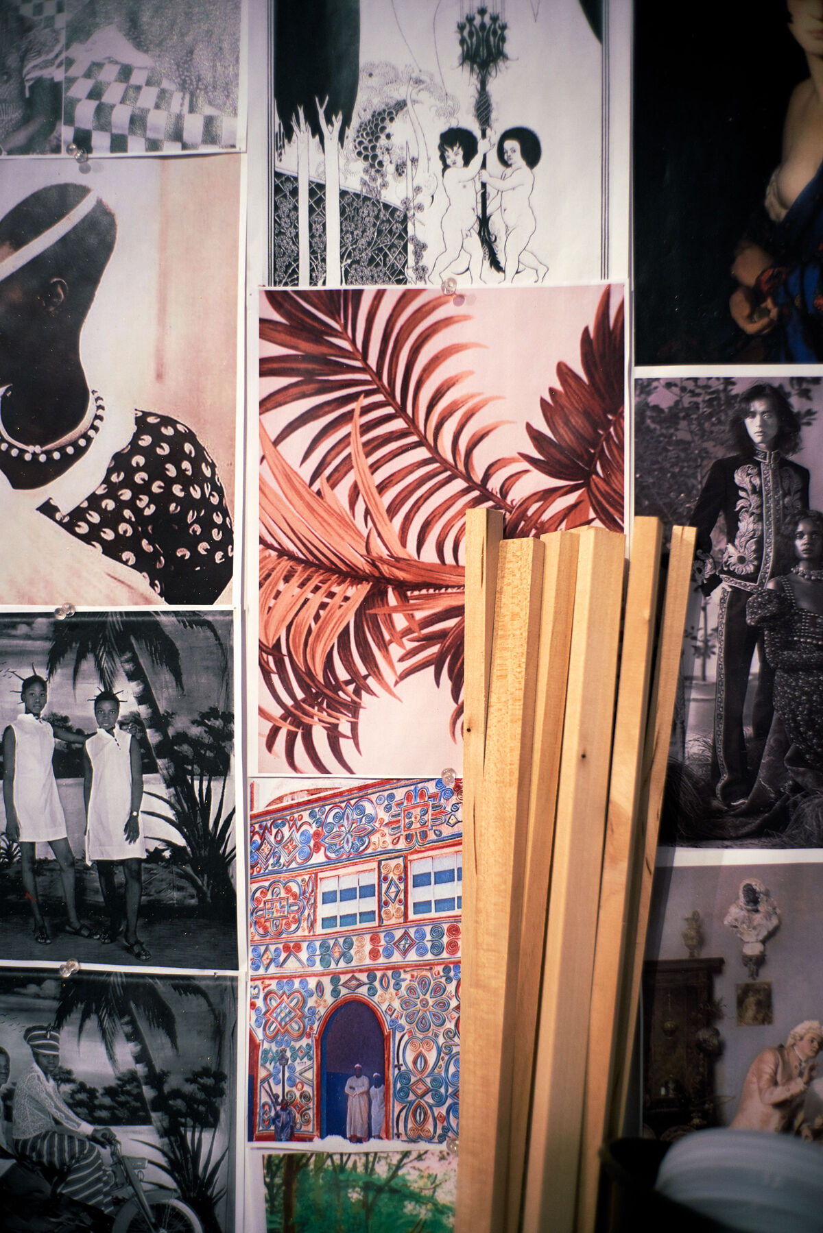 Lina Iris Viktor's studio wall featuring various reference images. Photo by Alex John Beck for Artsy.