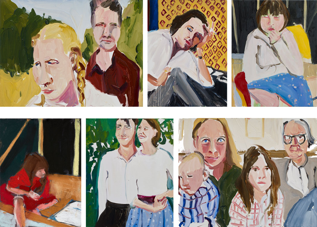 Paintings by Chantal Joffe. Top row: Jean and Robert, 2015; Anne in her Study, 2015; Esme in the Beach Hut, 2015. Bottom row: Esme in the Beach Hut, 2015; Ted and Sylvia, 2015; Sheridan, Caroline, Ivana and Robert, 2015. Courtesy the Artist and Victoria Miro, London. © Chantal Joffe.