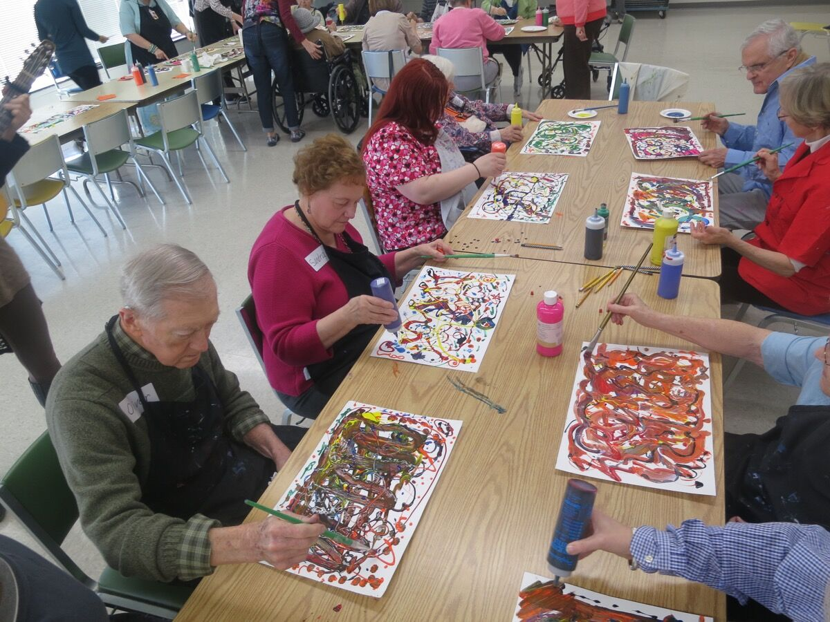 Racine Art Museum's Custom campus offers SPARK!, a free art engagement experience for people with memory loss and their caregivers. Photo by RAM Education Staff. Courtesy of Racine Art Museum.
