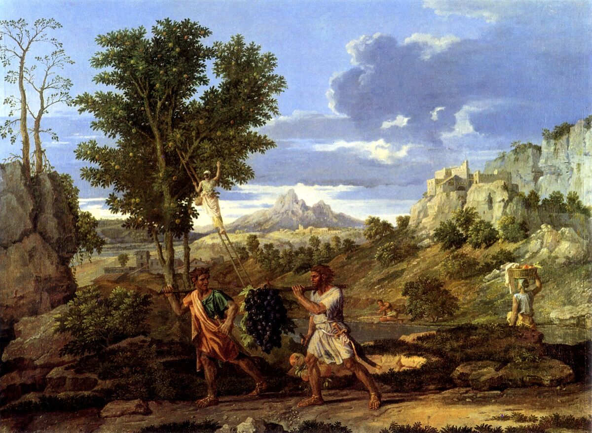 Nicolas Poussin, Autumn (The Spies with the Grapes of the Promised Land), 1660-64. Photo via Wikimedia Commons.