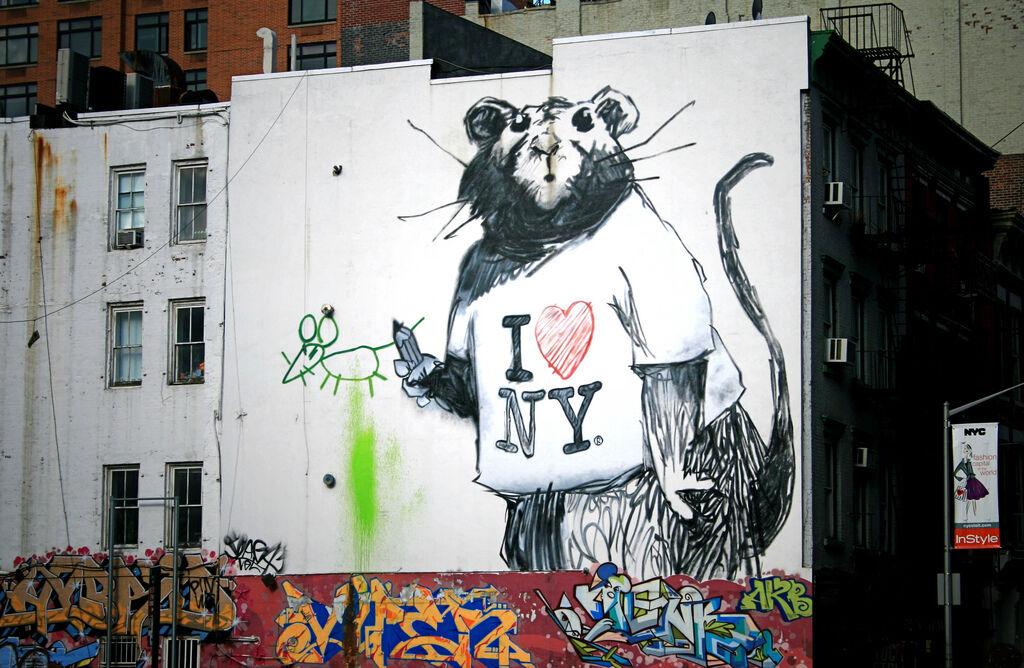New Banksy Rat Mural in New York by caruba, via Flickr.