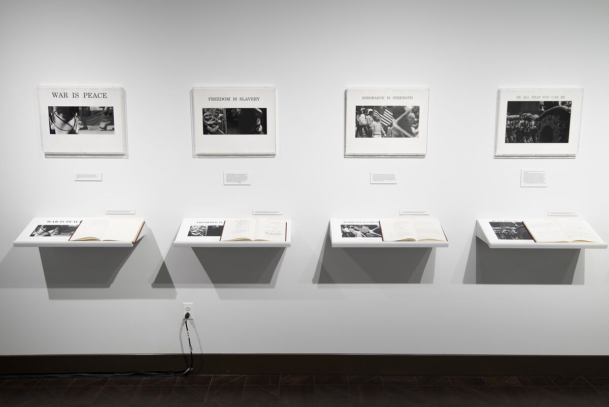 Installation view of Dread Scott, American Newspeak...Please Feel Free, 1988. Courtesy of the artist.