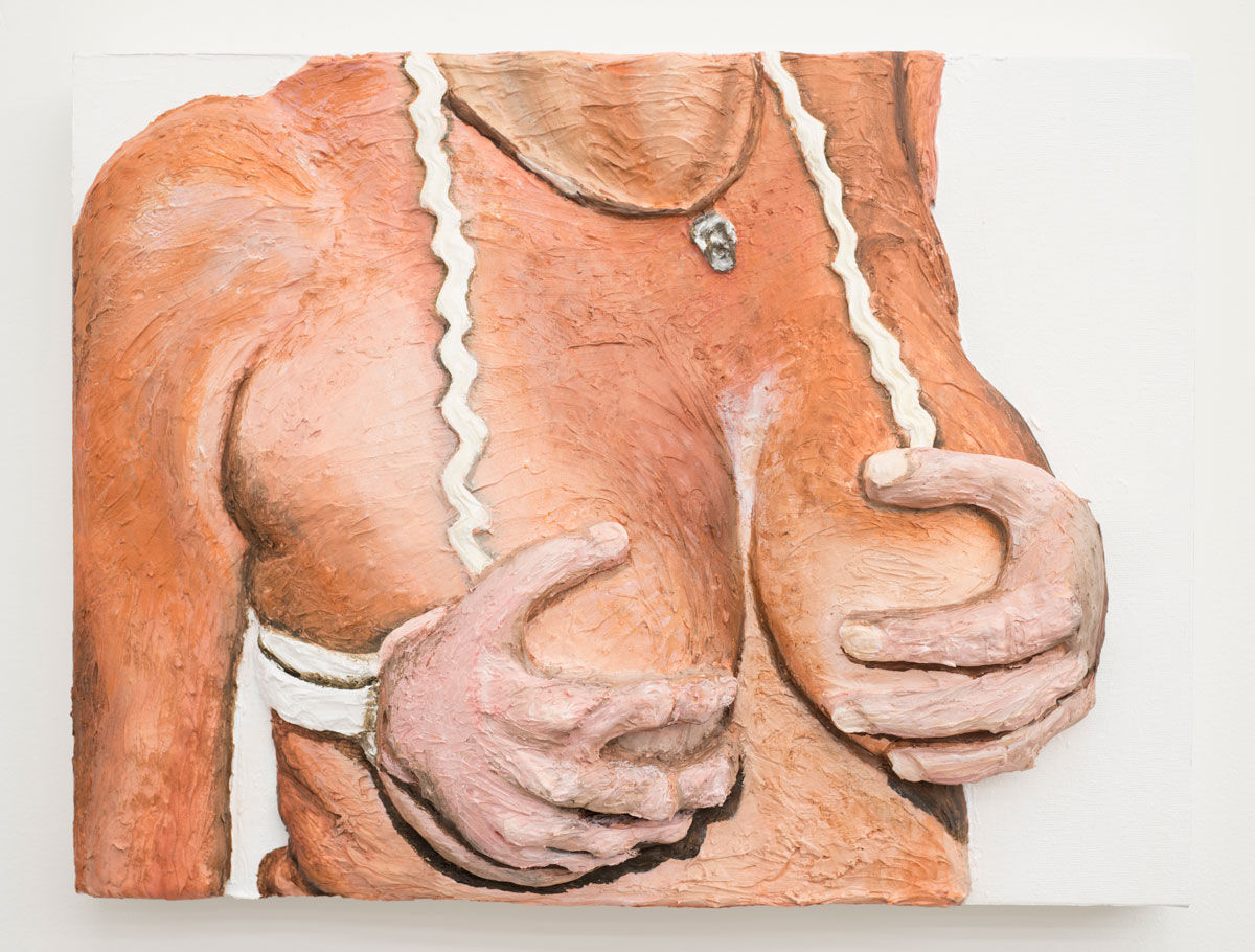 Gina Beavers, Hand bra, 2015. Image courtesy of the artist.