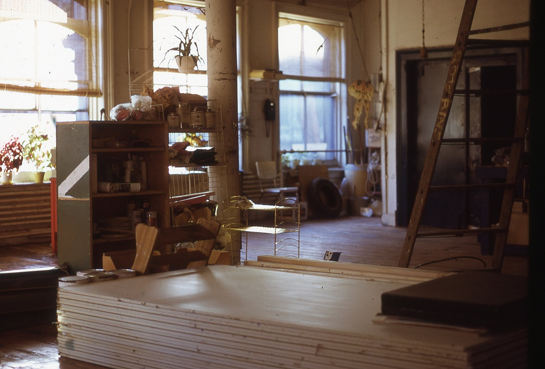 Interior view of a loft in construction, with a stack of sheetrock and a ladder, 1970. Photo by Eric Cashdan.