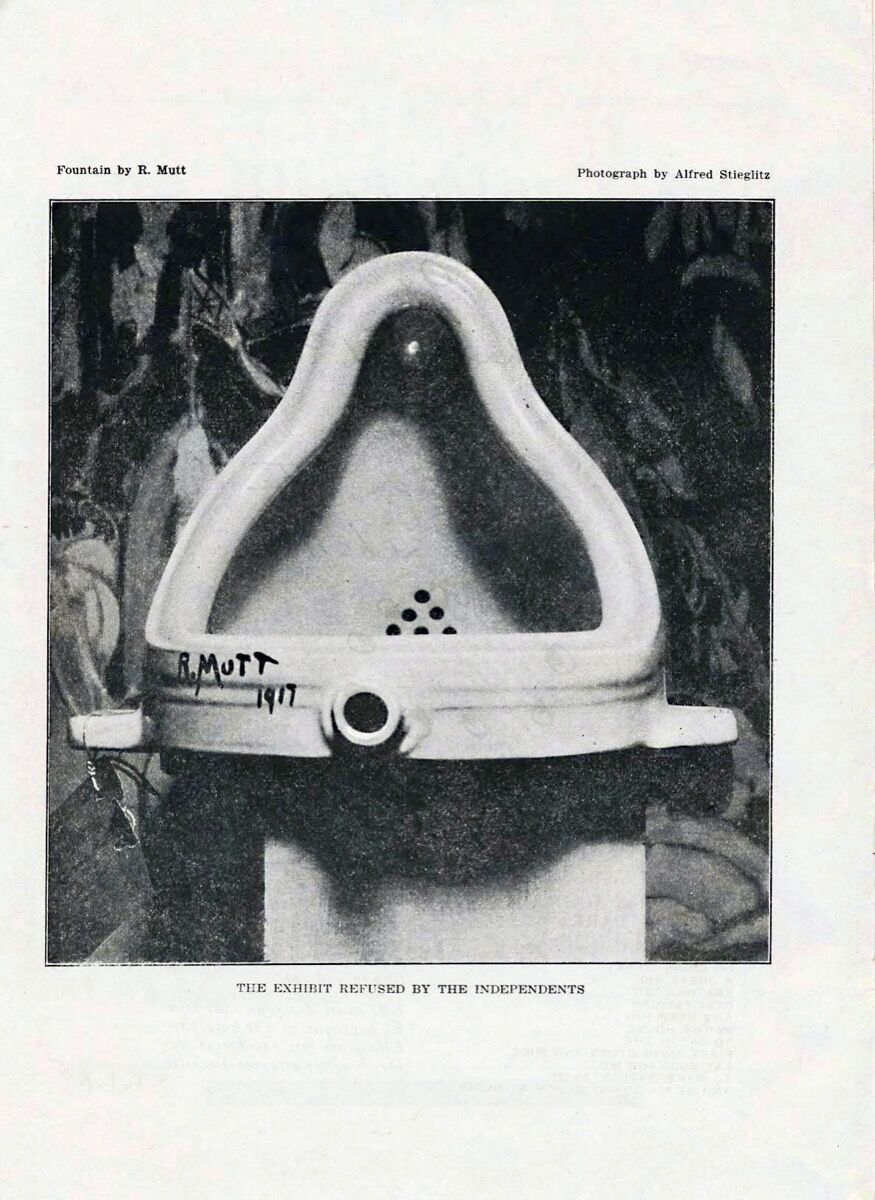 Alfred Stieglitz photograph of Marcel Duchamp's Fountain, 1917. Image via Wikimedia Commons.