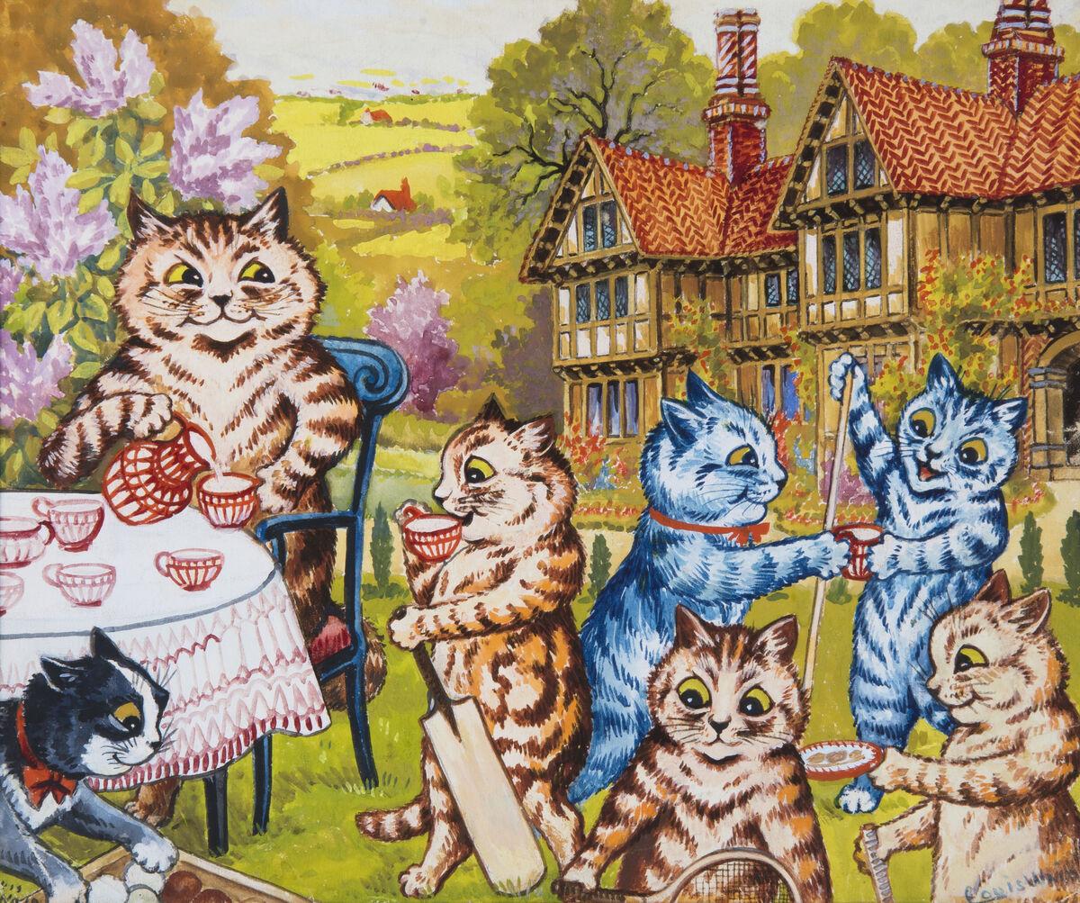 Louis Wain, A Summer Tea Party. Courtesy of Chris Beetles Ltd.