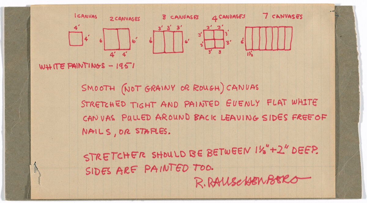 Robert Rauschenberg, White Paintings- 1951, 1965, ink, lined paper, and staples on cardboard; and ink on paper. Gift of the Gilbert B. and Lila Silverman Instruction Drawing Collection, Detroit. © 2019 Robert Rauschenberg Foundation.