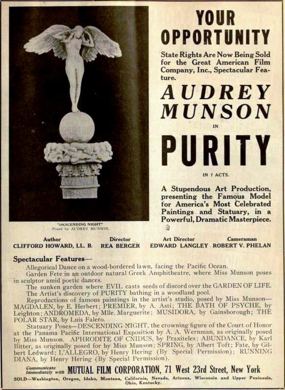 Advertisement for the film Purity, in Moving Picture World, 1916. Photo via Wikimedia Commons.