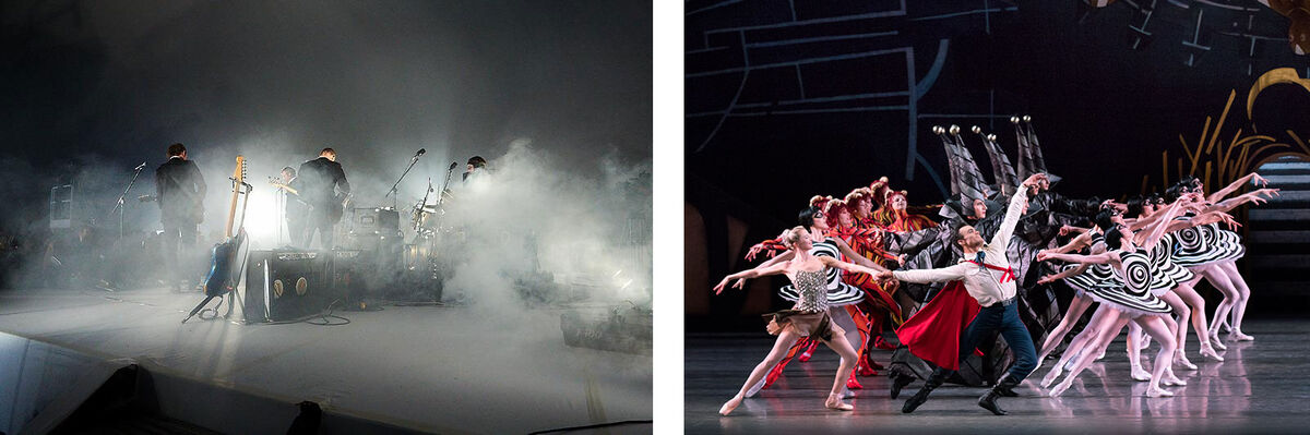 Left: Ragnar Kjartansson and The National, A Lot of Sorrow, 2013-2014. Photo by Elísabet Davids. © Ragnar Kjartansson and The National. Courtesy of the artists, Luhring Augustine, New York, and i8 Gallery, Reykjavik; Right: The New York City Ballet performs Justin Peck's The Most Incredible Thing.  Photo by Paul Kolnik, courtesy of the New York City Ballet.