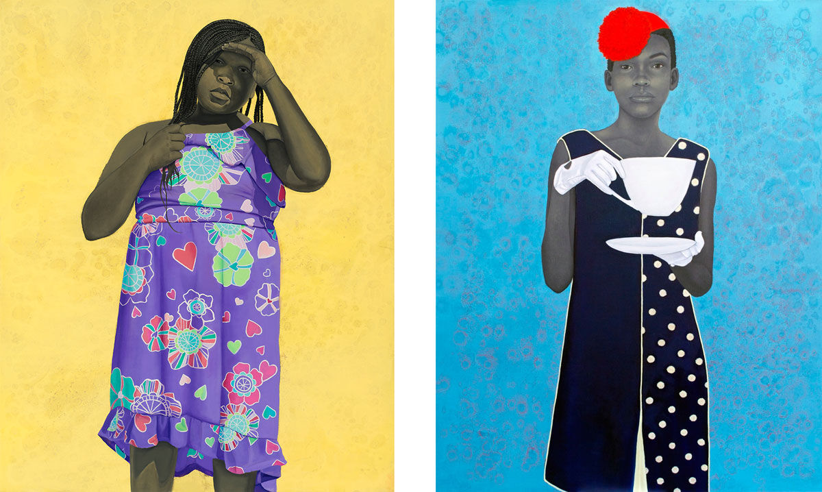 Left: Amy Sherald, Girl in Purple Dress, 2016; Right: Amy Sherald, Miss Everything (Unsurpressed Deliverance), 2014. Images courtesy of the artist and moniquemeloche, Chicago.