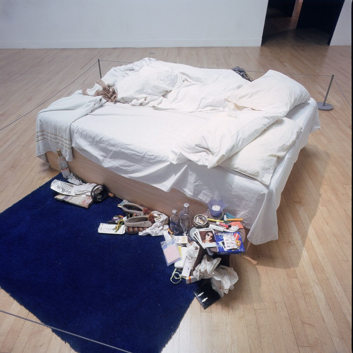 Installation view of Tracey Emin, My Bed, at the Turner Prize Exhibition, Tate Gallery, London, 1999-2000. Photo © Stephen White. © 2018 Tracey Emin. All rights reservied, DACS, London / Artists Rights Society (ARS), New York. Courtesy of White Cube.
