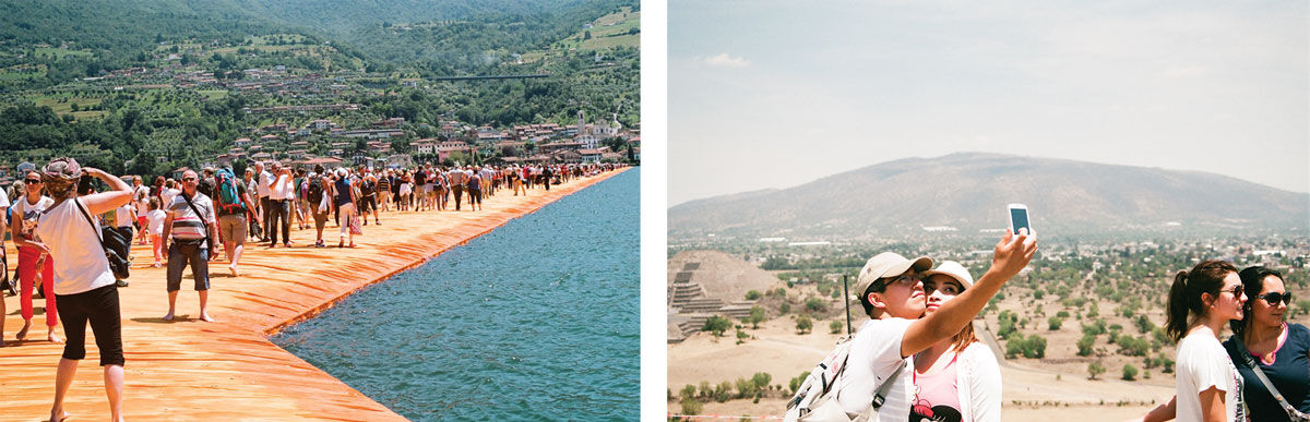 Left: Ambre Kelly and Andrew Gori, Couple—Floating Piers, Italy, 2016. Right: Ambre Kelly and Andrew Gori, Couple—Teotihuacan, Mexico, 2014. Images courtesy of the artists.