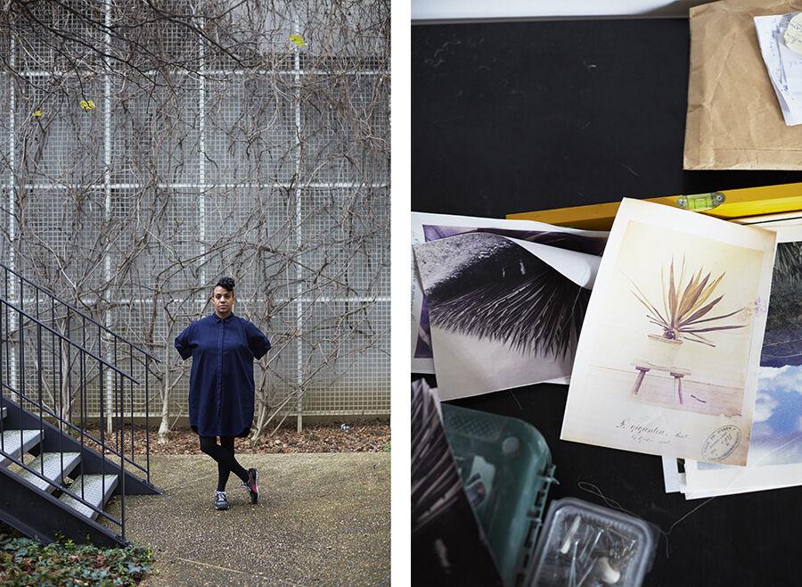 Left: Portrait of Kapwani Kiwangi in her Paris studio. Right: Detail view of Kapwani Kiwanga's Paris studio. Photos by Emily Johnston for Artsy.