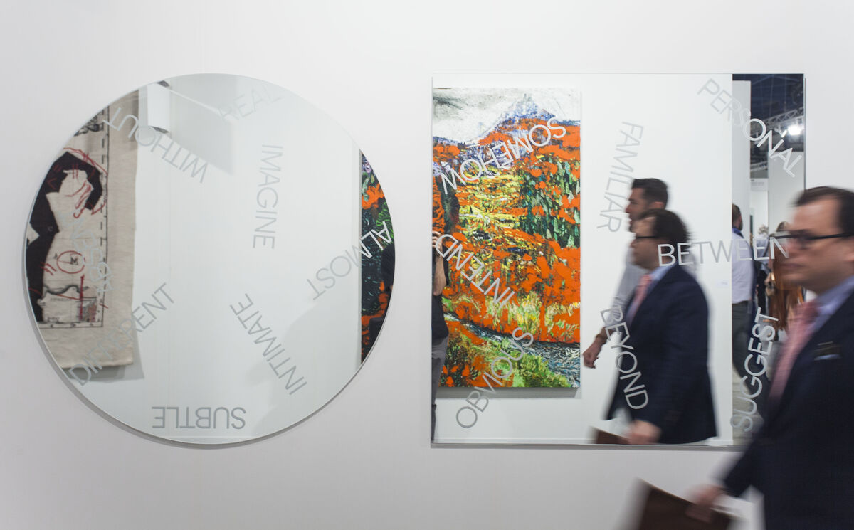 Installation view of Alfonso Artiaco's booth at Art Basel in Miami Beach, 2015. Photo by Oriol Tarridas for Artsy.