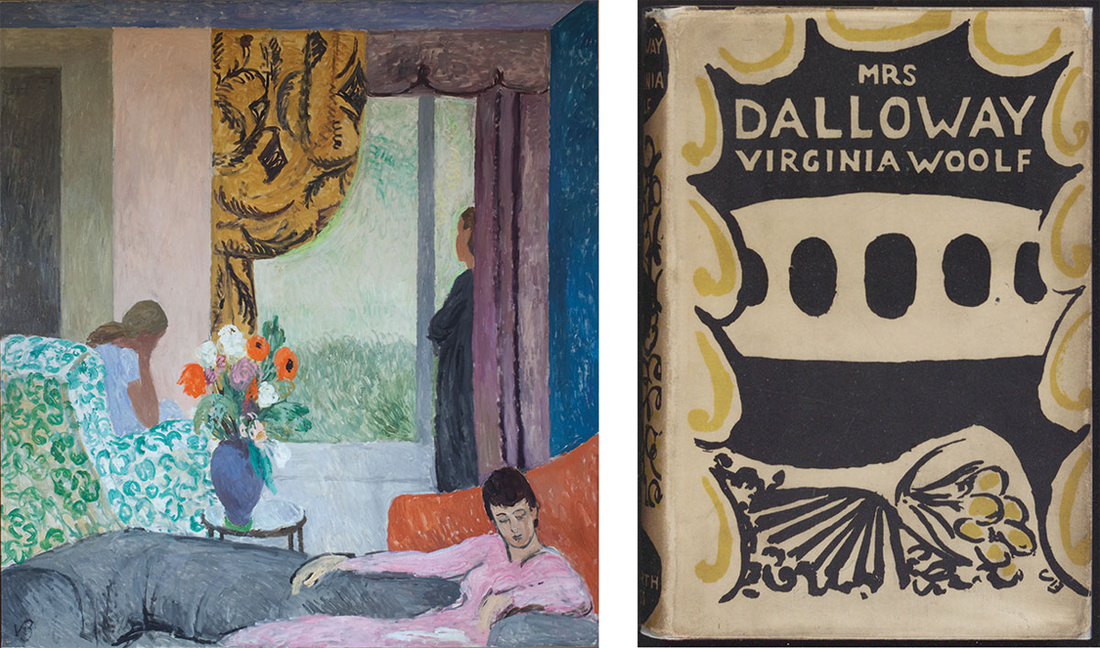 Left: Vanessa Bell, The Other Room, late 1930s. Right:Virginia Woolf, Mrs Dalloway, 1925. Book with dust jacket designed by Vanessa Bell. Collection of the Victoria University Library, Toronto. Published by Leonard and Virginia Woolf at The Hogarth Press, 1925. Images © The Estate of Vanessa Bell, courtesy of Henrietta Garnett.