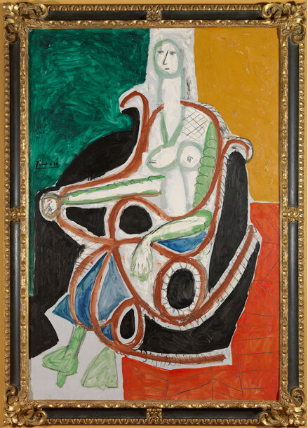 Pablo Picasso, Femme Dans Un Rocking-Chair, 1956. ©2016 Estate of Pablo Picasso / Artists Rights Society (ARS), New York. Courtesy Gagosian.
