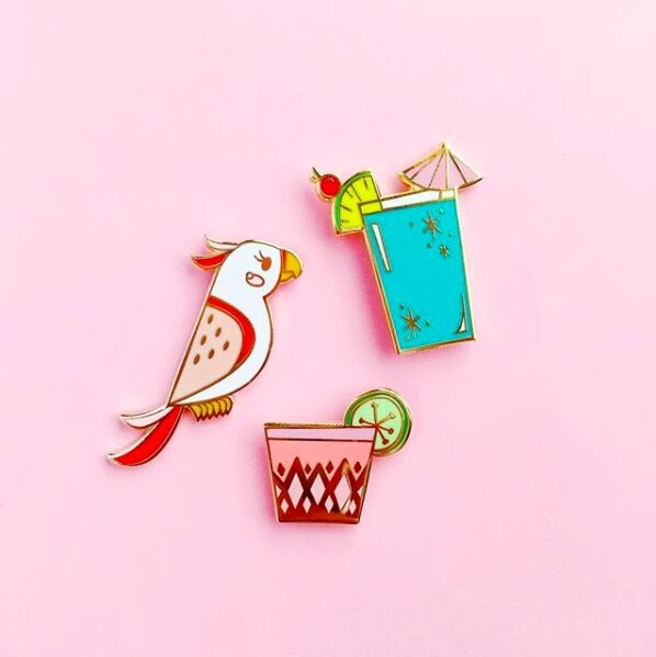 Katie Thierjung's pin designs. Photo by @theuncommonplace, via Instagram.