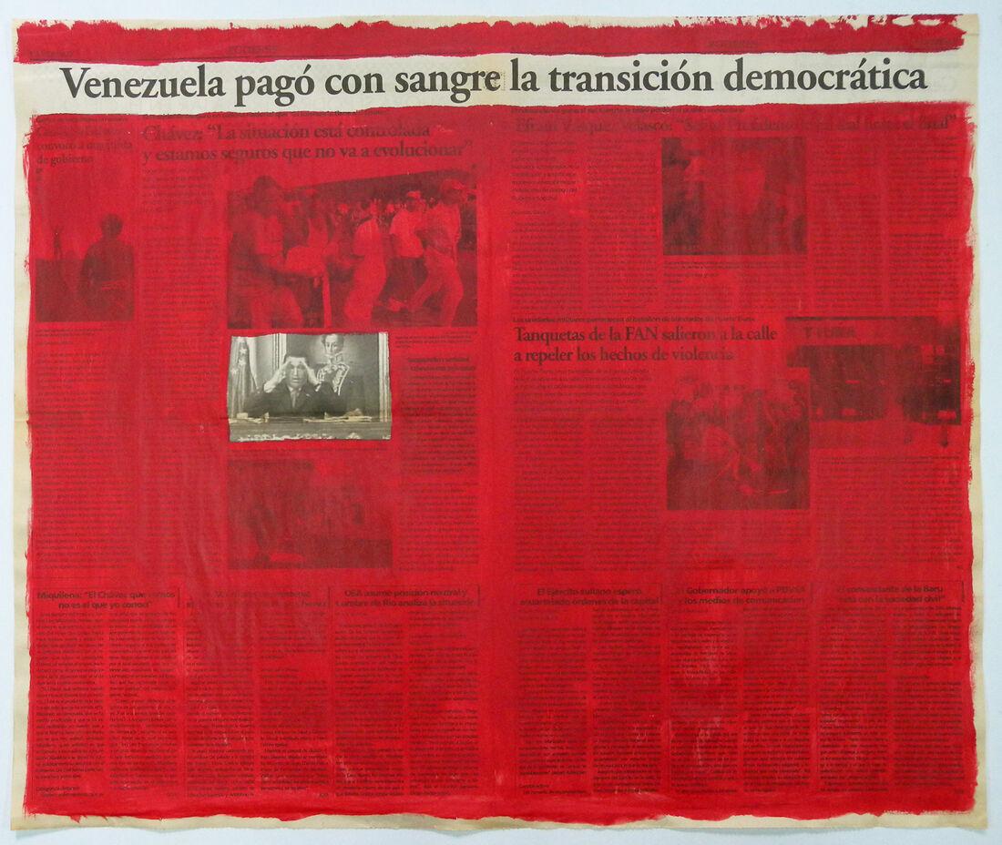 Marco Montiel-Soto, Serie La verdad no es noticia, 2016. Acrylic on newspaper. 57.5 x 68.5 cm. Courtesy of Gallery Carmen Araujo Arte.