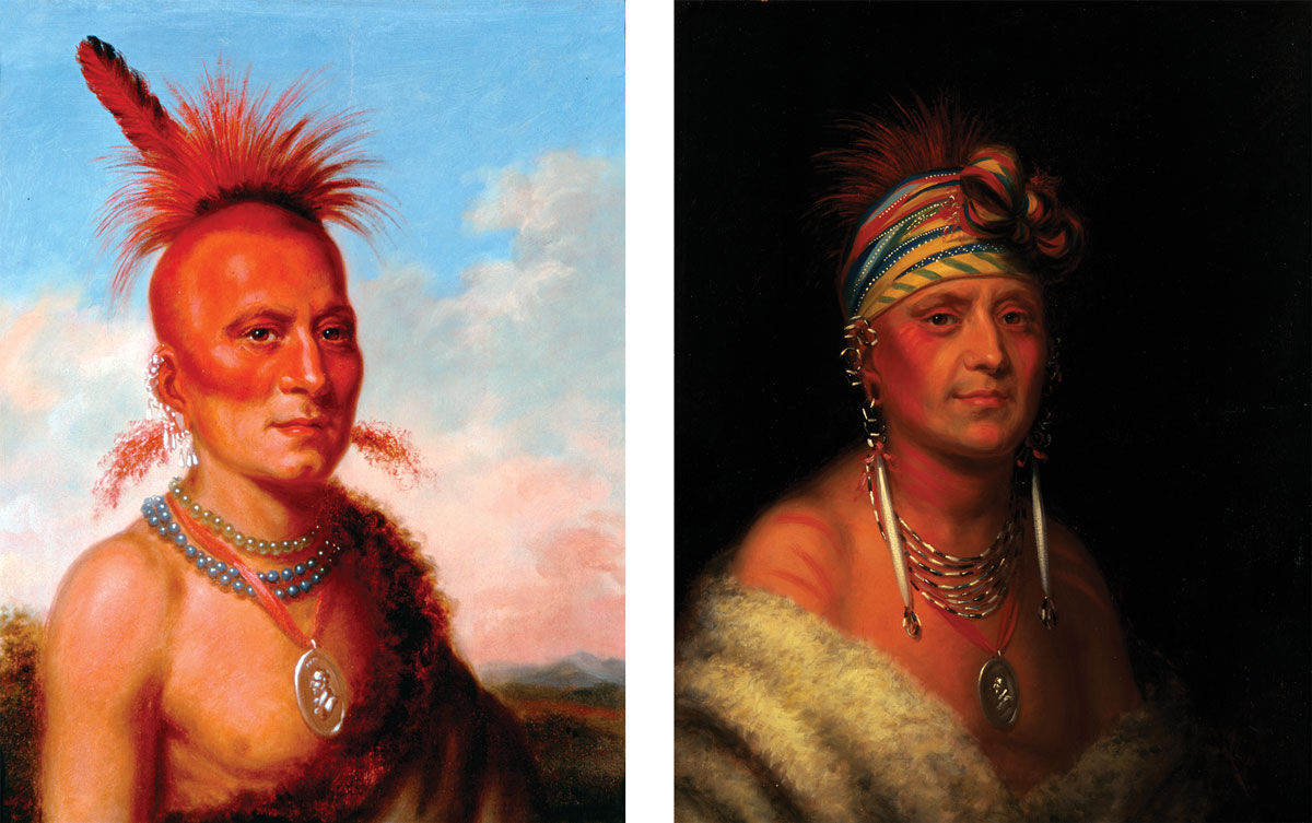 Left: Charles Bird King, Sharitahrish (Wicked Chief), Pawnee), 1822. Right: Charles Bird King, Monchousia (White Plume), Kansa, 1822. Images courtesy of the White House Collection/White House Historical Association.