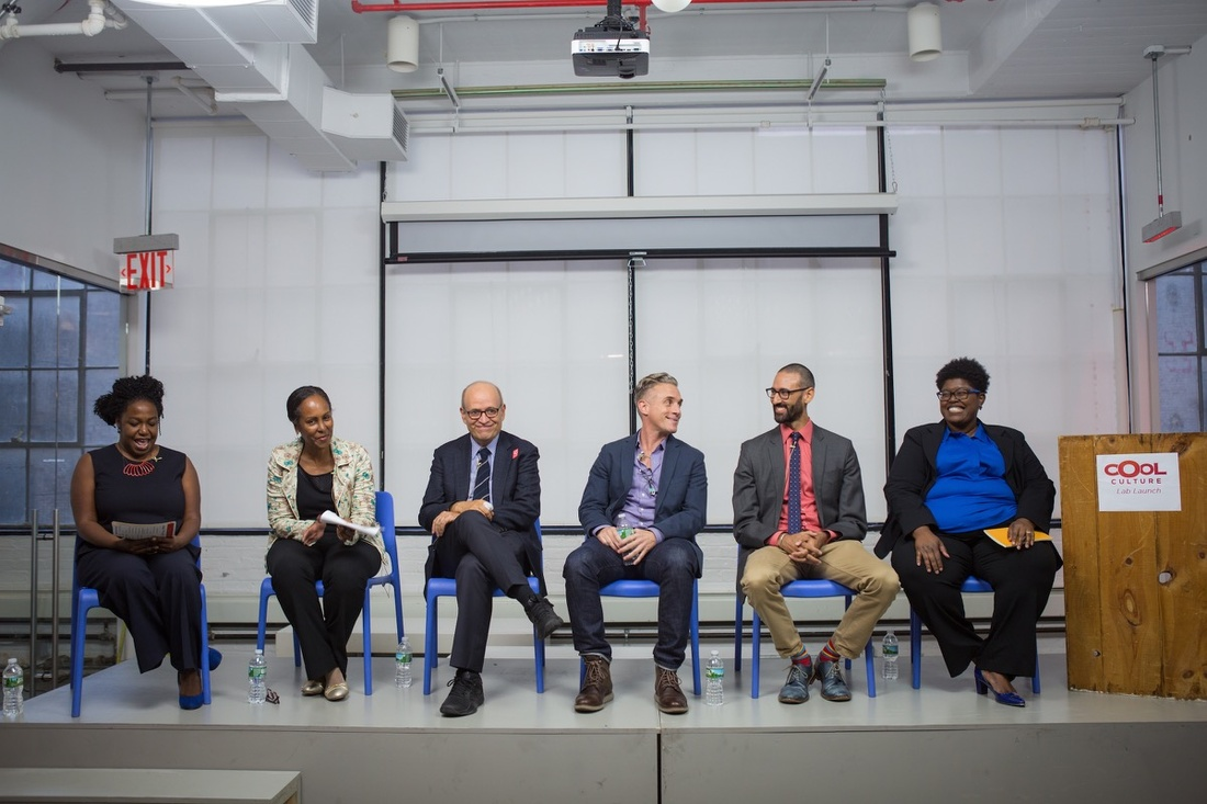 From left to right: Candice Anderson, Margaret Morton, Tom Finkelpearl, Miguel Luciano, James E. Bartlett, and Nicole Ivy. Photo by Margarita Corporan, courtesy of Cool Culture.
