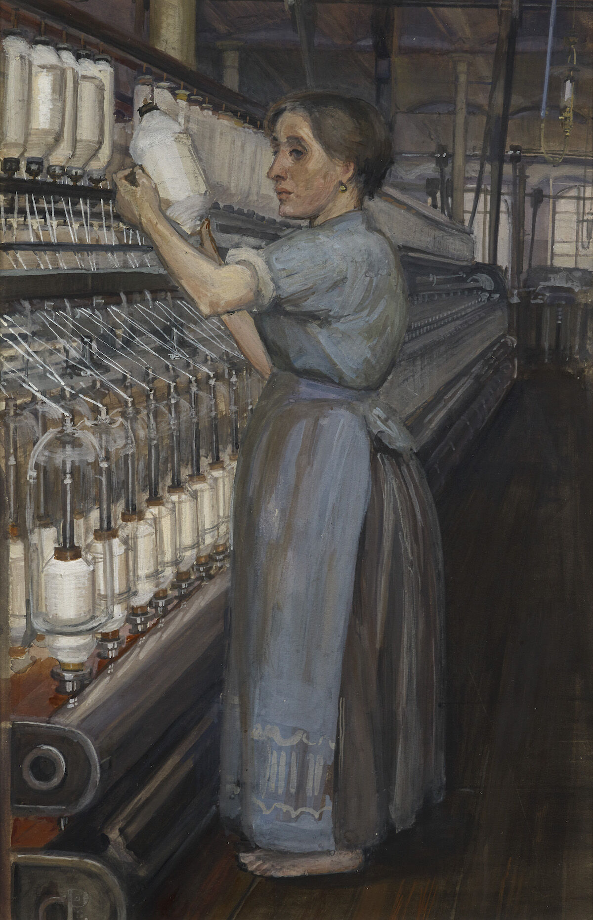Sylvia Pankhurst, In a Glasgow Cotton Spinning Mill: Changing the Bobbin, 1907. Courtesy Tate Britain.
