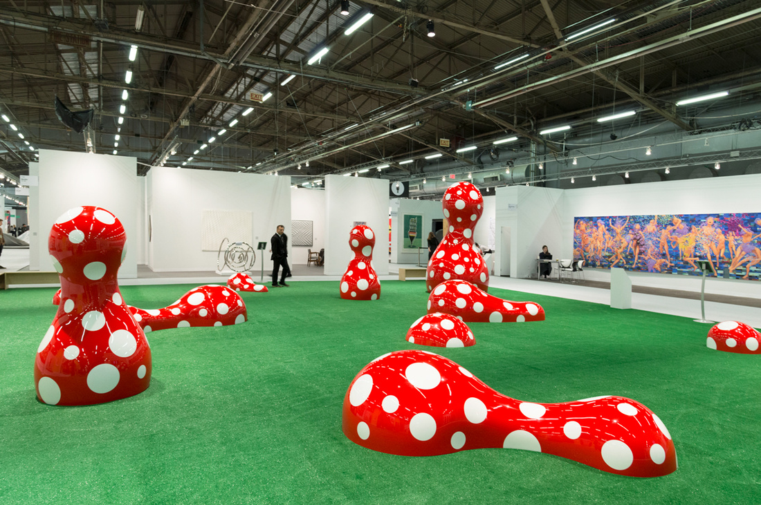 Installation view of Yayoi Kusama,Guidepost to the New World, 2016, at The Armory Show, 2017. Photo by Adam Reich for Artsy.