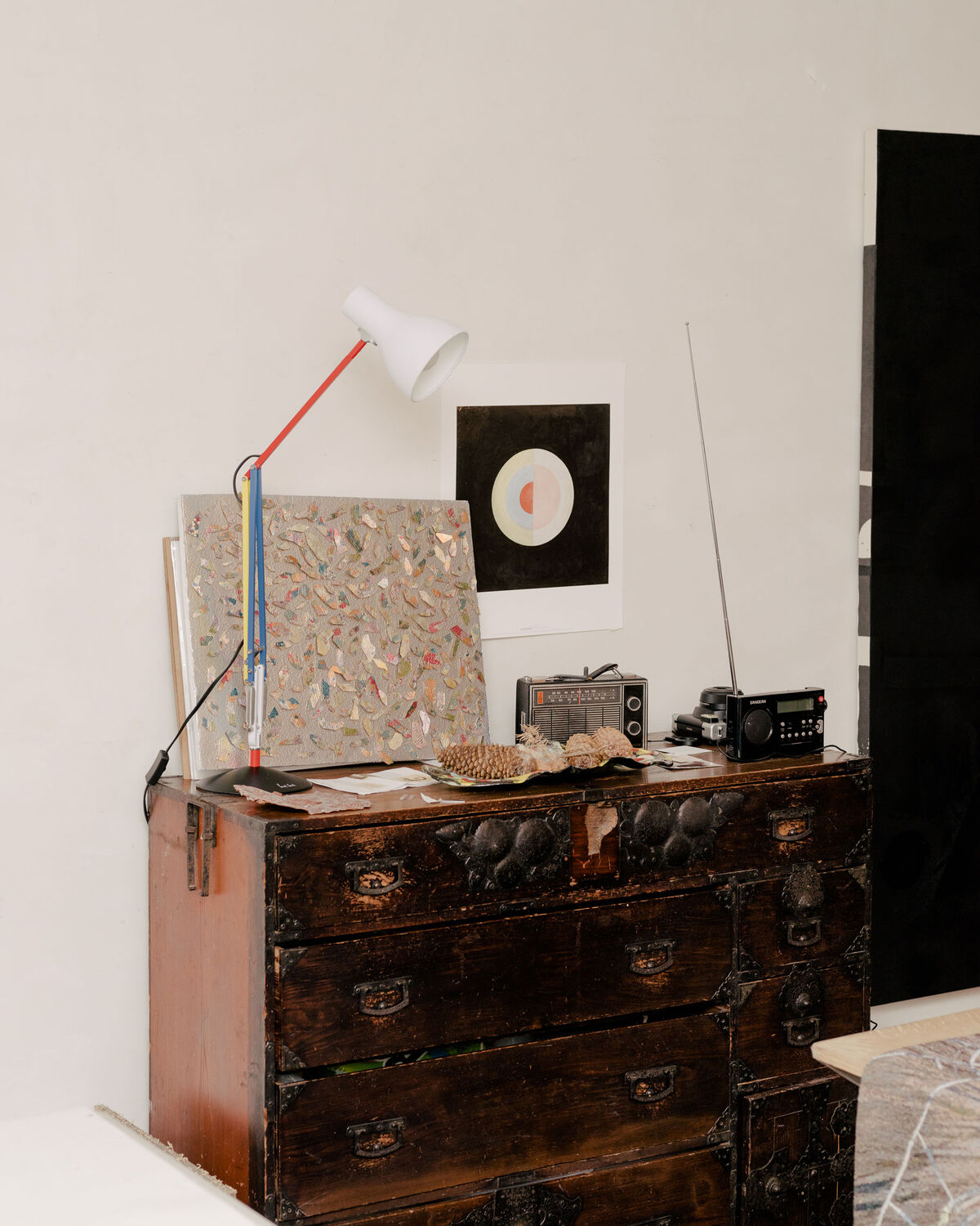 Detail of Kiki Smith's home and studio, featuring a print by Hilma af Klint (center). Photo by Daniel Dorsa for Artsy.