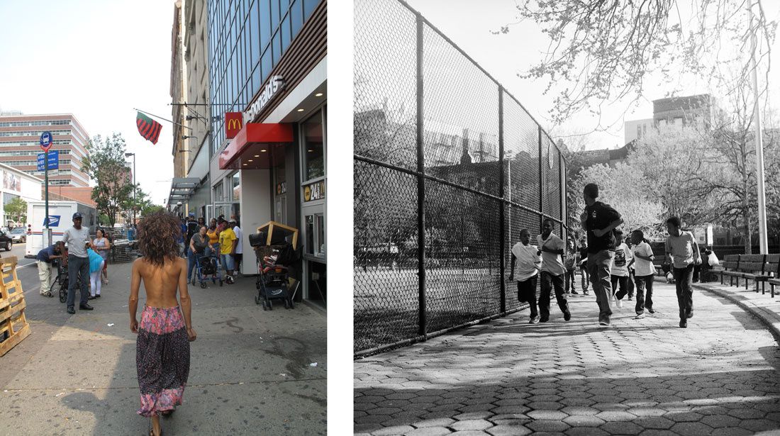Left: Narcissister, Bare Breasted Project (Harlem #2), 2015. Right:  King Texas, Harlem, 2015. Part of the Harlem Postcards series. Photos courtesy of the Studio Museum in Harlem.