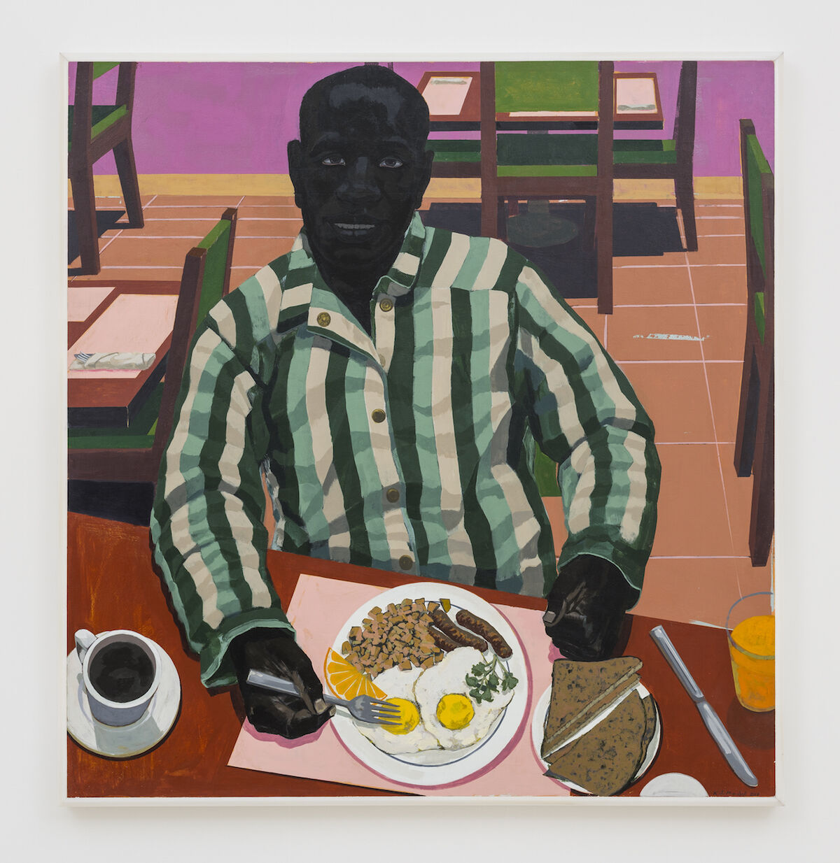 Kerry James Marshall, Untitled (Two Eggs Over Medium, Sausage, Hash Browns, Whole Wheat Toast), 2017. Courtesy the artist and David Zwirner, London.