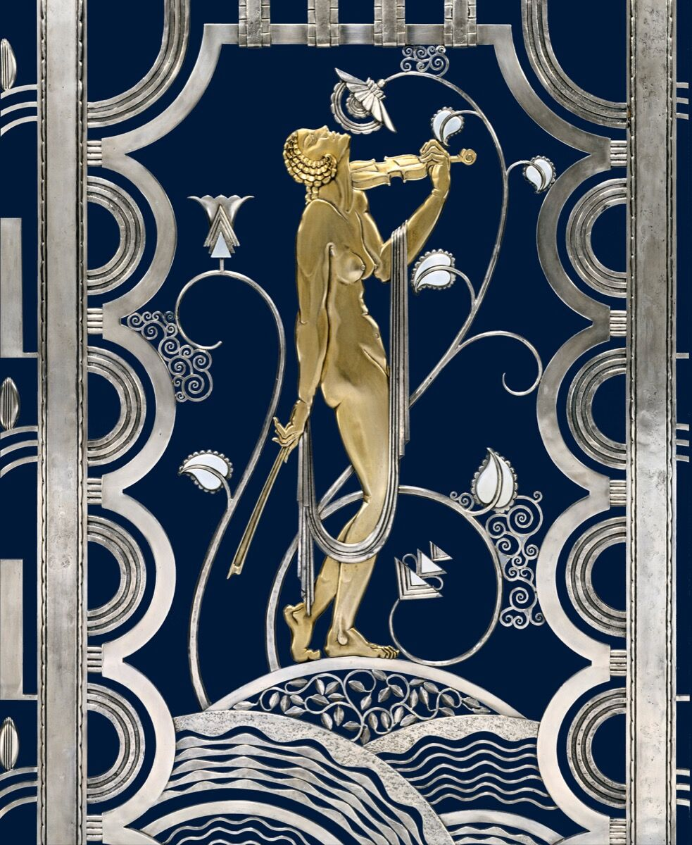 Paul Fehér, Muse with Violin Screen (detail), 1930. Courtesy of The Cleveland Museum of Art. © Rose Iron Works Collections, LLC. Courtesy of Cooper Hewitt, Smithsonian Design Museum.