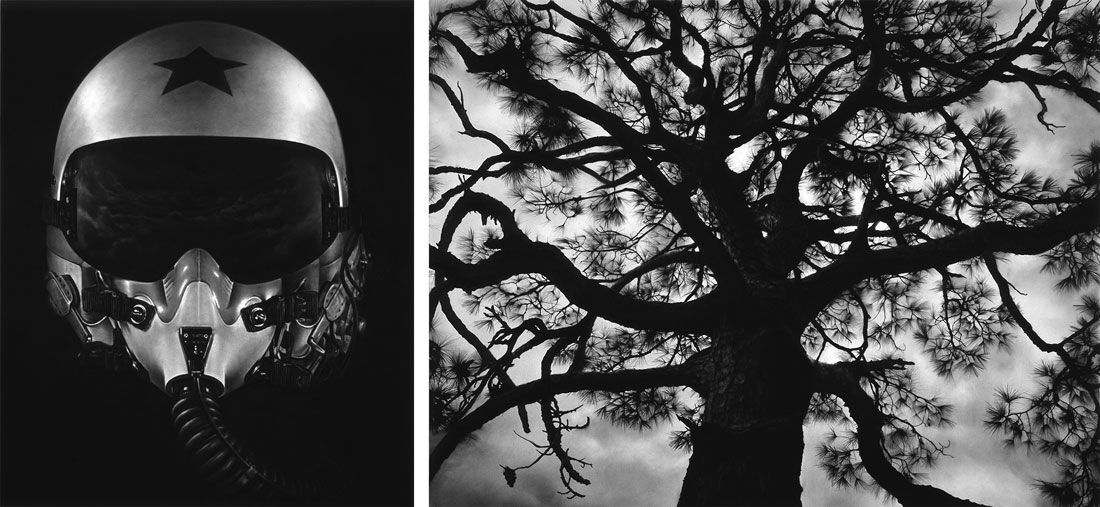 Robert Longo, Untitled (Hunter), 2015 and Untitled (Pine Tree), 2015 on view at Metro Pictures's booth at Art Basel in Hong Kong, 2016. Courtesy of the gallery and the fair.