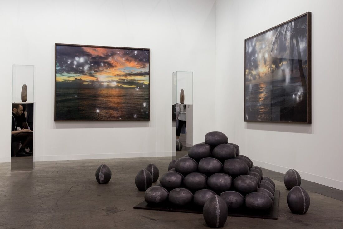 Installation view of Julian Charrière's work on view at Dittrich & Schlechtriem's booth at Art Basel in Hong Kong, 2017. Courtesy of Art Basel.