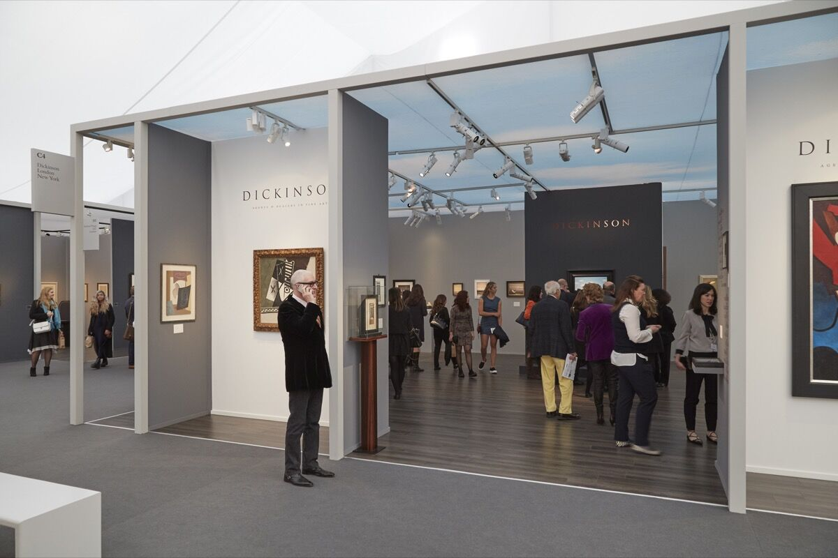 Installation view of Dickinson's booth at Frieze Masters, 2016. Photo by Benjamin Westoby for Artsy.