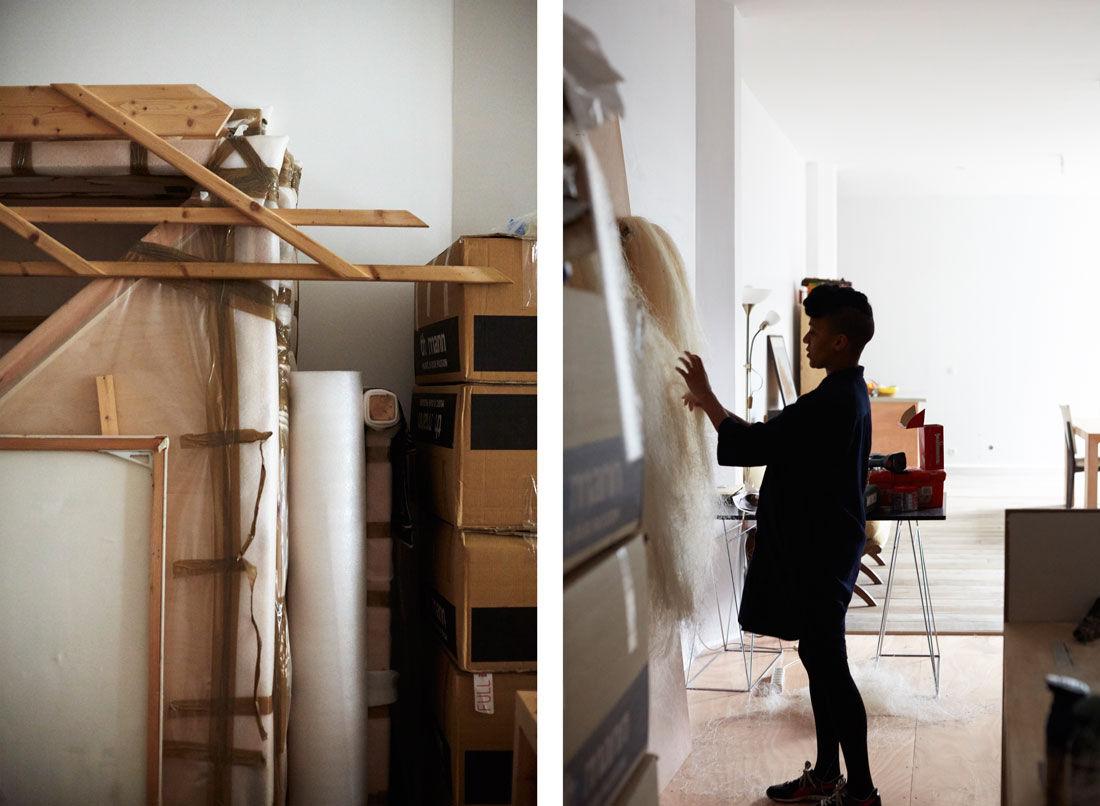 Detail views of Kapwani Kiwanga's Paris studio. Photos by Emily Johnston for Artsy.